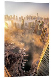 Acrylglas print  Dubai Marina covered in early morning fog
