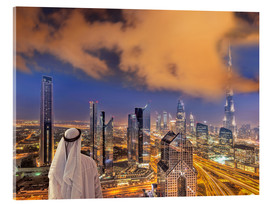 Acrylglas print  Arab man looks over Dubai