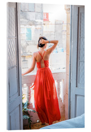 Acrylglas print  Young attractive woman in red dress
