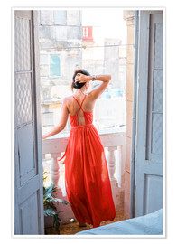 Premium poster  Young attractive woman in red dress