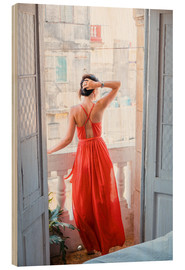 Hout print  Young attractive woman in red dress