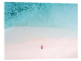 Acrylglas print  Drone view of woman on the beach, Maldives - Matteo Colombo