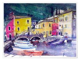 Premium poster Lake Garda, harbor in Cassone