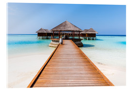 Acrylglas print  Jetty and overwater bungalows, Maldives - Matteo Colombo