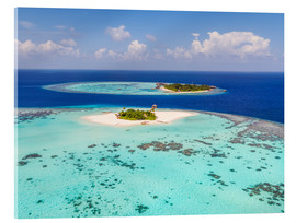 Acrylglas print  Aerial view of islands in the Maldives - Matteo Colombo