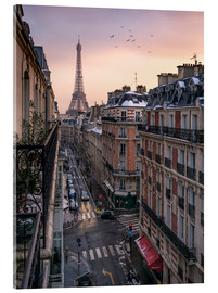 Acrylglas print  Street in Paris with Eiffel tower at sunset - Jan Christopher Becke