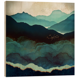 Hout print  Indigo Mountains - SpaceFrog Designs