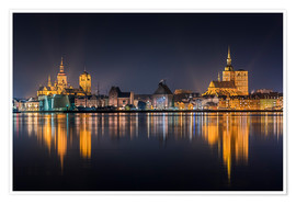 Premium poster  Skyline of Stralsund at night - Kristian Goretzki