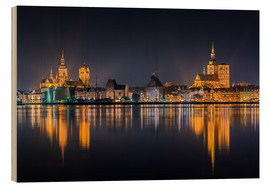 Hout print  Skyline of Stralsund at night - Kristian Goretzki