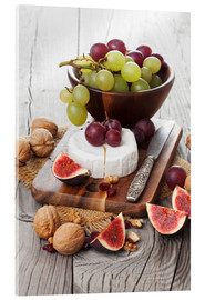 Acrylglas print  Camembert cheese with figs, nuts and grapes