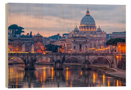 Hout print  The Basilica of the Vatican of St. Peter