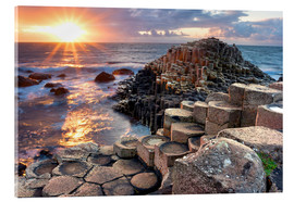 Acrylglas print  Sunset at Giant s Causeway