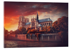 Acrylglas print  Sunset at Notre Dame in Paris