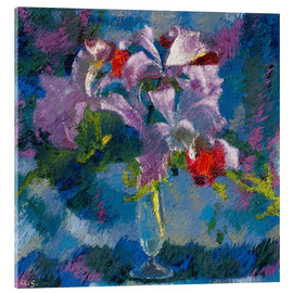 Acrylglas print  Orchids on a blue background - Augusto Giacometti