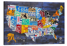 Aluminium print  License plate map of the USA - Design Turnpike