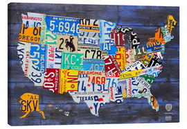 Canvas print  License plate map of the USA - Design Turnpike
