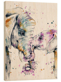 Hout print  That type of love (elephants) - Sillier Than Sally