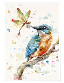 Premium poster Interesting relationships (kingfisher and dragonfly)