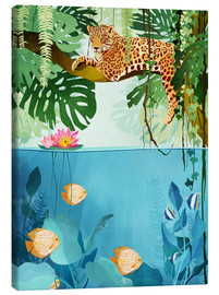 Canvas print  Welcome to the Jungle - luipaard - Goed Blauw