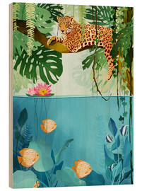Hout print  Leopard in the trees - Goed Blauw