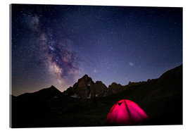 Acrylglas print  Glowing camping tent under starry sky on the Alps - Fabio Lamanna