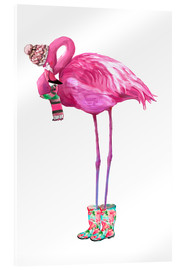 Acrylglas print  Pink flamingo with rubber boots - Kidz Collection