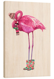 Hout print  Pink flamingo with rubber boots - Kidz Collection