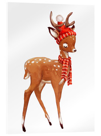 Acrylglas print  Winter deer with scarf and hat - Kidz Collection