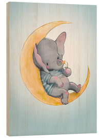Hout print  Elephant in the moon - Kidz Collection