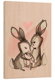 Hout print  Family hare - Kidz Collection