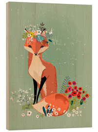 Hout print  Fox in the spring - Kidz Collection