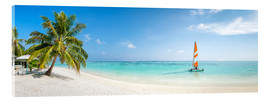 Acrylglas print  Maldives beach panorama with sailboat - Jan Christopher Becke