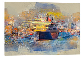 Acrylglas print  Hamburg Queen Mary II, in the background the Elbphilharmonie - Peter Roder
