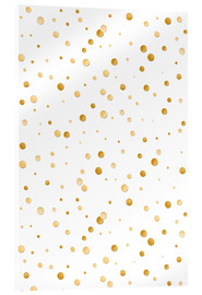 Acrylglas print  golden polka dot pattern