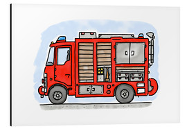 Aluminium print  Hugos fire department emergency vehicle - Hugos Illustrations
