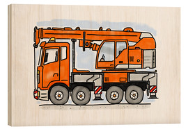 Hout print  Hugo's truck - Hugos Illustrations