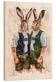 Hout print  Gay Rabbits - Peter Guest