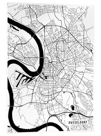Acrylglas print  Dusseldorf Germany Map - Main Street Maps