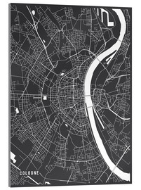 Acrylglas print  Cologne Germany Map - Main Street Maps