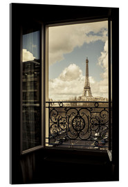 Acrylglas print  The Eiffel tower through a window - age fotostock