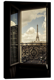 Canvas print  The Eiffel tower through a window - age fotostock