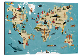 Aluminium print  World map with animals (German) - coico