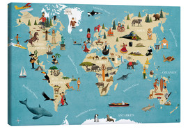 Canvas print  World map with animals (German) - coico