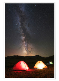 Premium poster Shining tents under the Milky Way
