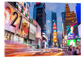 Acrylglas print  Passing vehicles in front of the billboards of Times Square in New York - Neale Clarke