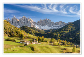 Premium poster Villnos Valley in South Tyrol