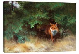 Canvas print  Fox Hiding Under Spruce - Bruno Andreas Liljefors