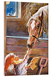 Acrylglas print  Dwarf feeds the horse in the stable - Jenny Nyström