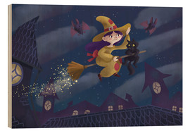 Hout print  Little witch - Leonora Camusso