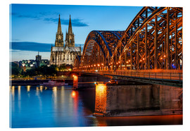 Acrylglas print  Cologne Cathedral and Hohenzollern Bridge at night - Jan Christopher Becke